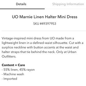 Urban Outfitters Dresses - UO Linen Halter Mini Dress